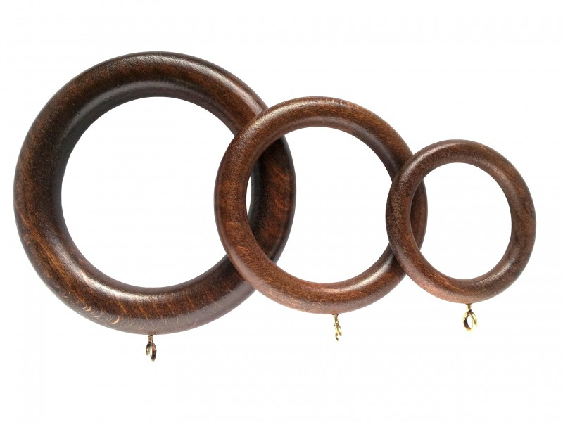 Wooden Curtain Rings Pack Of Four Metallic Limed