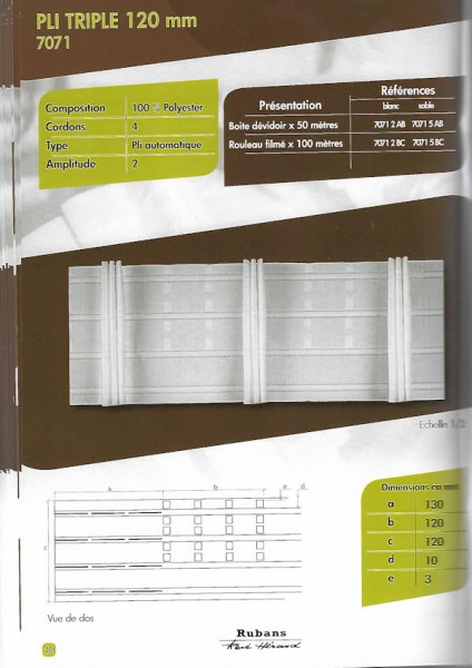 7071 – 120mm – Triple Fold – Pleating Tape