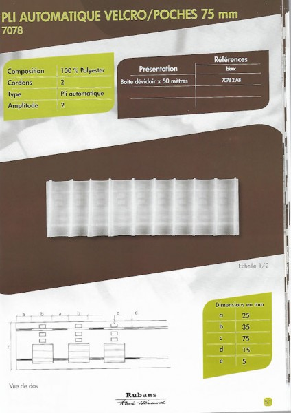 7078 – 75mm – Pencil Pleats with Velcro Pockets