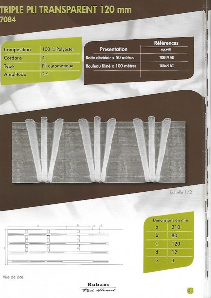 7084 – 120mm – Triple Fold – Transparent – Pleating Tape